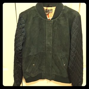 New Michael Stars pine green suede quilted bomber